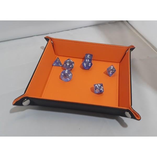 Folding Dice Tray - 14cm x 14cm  - Black with Orange Lining