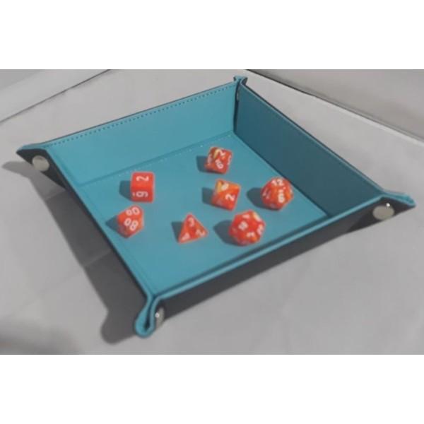Folding Dice Tray - 14cm x 14cm - Black with Blue Lining