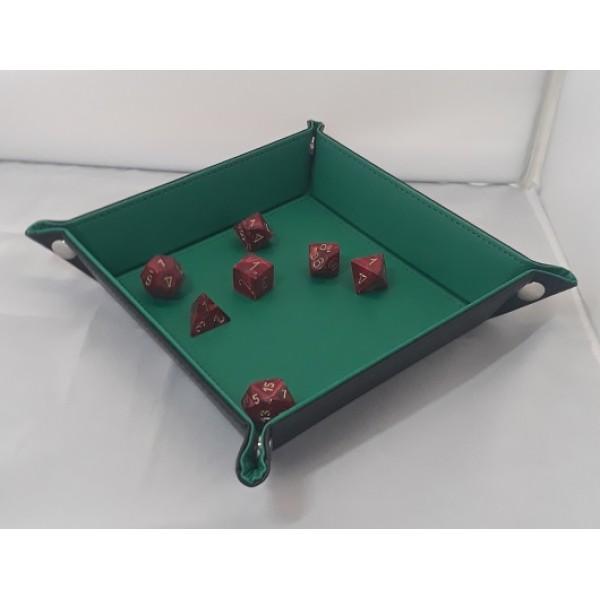 Folding Dice Tray - 14cm x 14cm  - Black with Green Lining