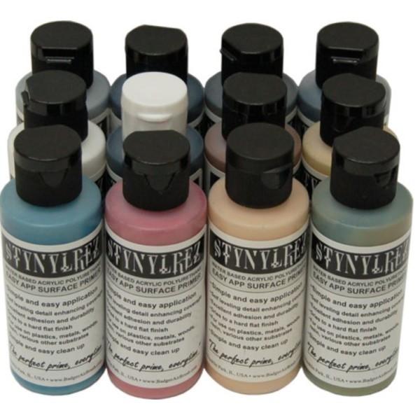 Badger Stynylrez - Acrylic Airbrush Primer - 12-Tone Color Pack (60ml)