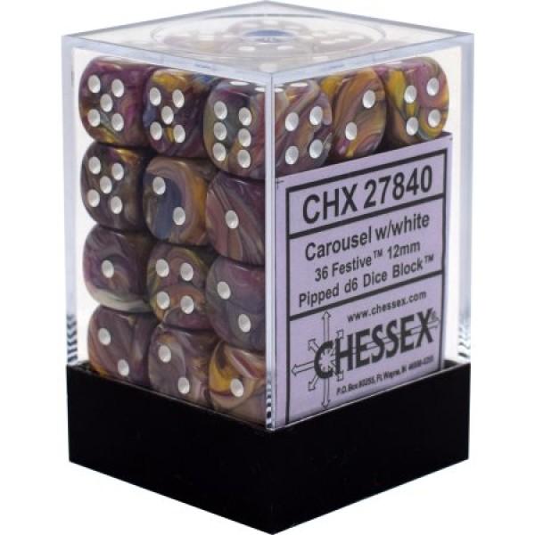Chessex - Festive 12mm d6 Carousel/White