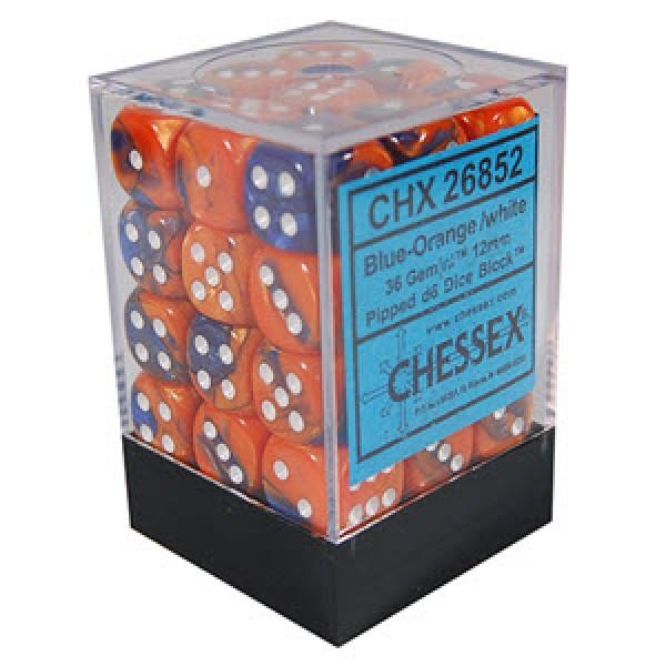 Chessex - Gemini Blue Orange with White (36)