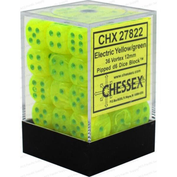 Chessex - Vortex Electric Yellow/White 12mm Brick (36)