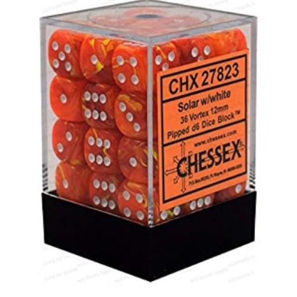 Chessex - Vortex Solar Yellow/White 12mm Brick (36)