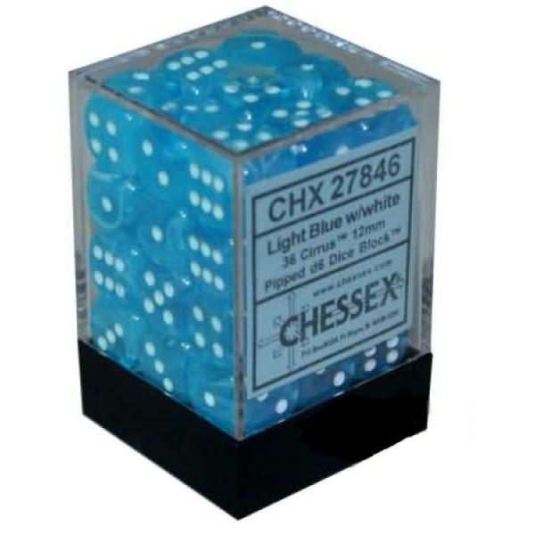 Chessex - Cirrus 12mm d6 Light Blue/White (36)