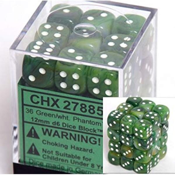 Chessex - Phantom 12mm d6 Green/White (36)