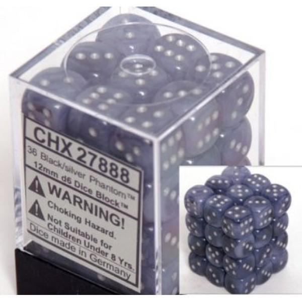 Chessex - Phantom 12mm d6 Black/Silver (36)