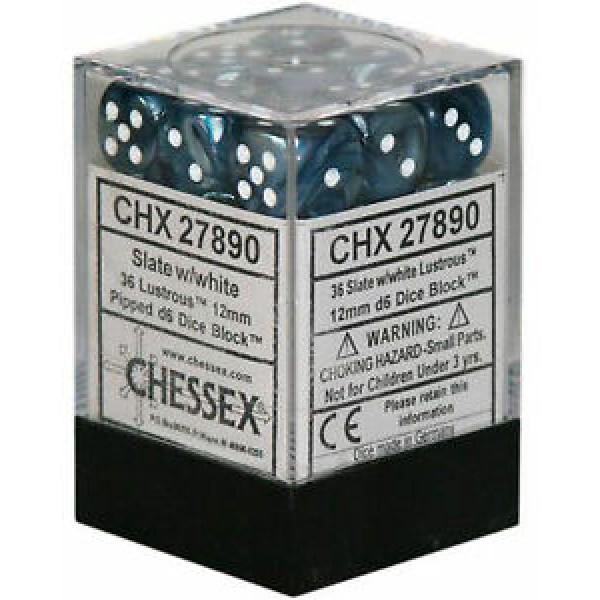 Chessex - Lustrous 12mm d6 Slate/White (36)