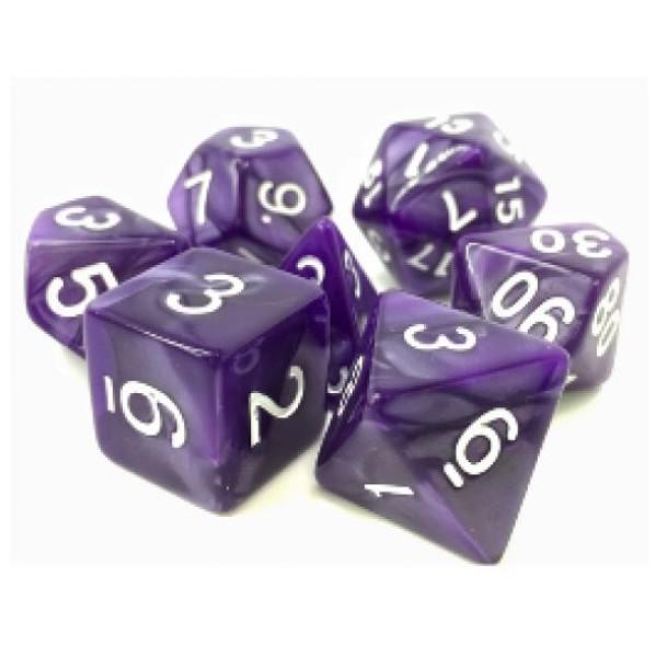 Dargon's RPG DICE - Nightstalker (Purple Pearl Opaque) - 7 Dice Set