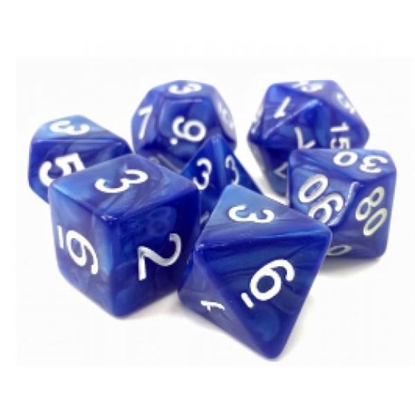 Dargon's RPG DICE - Sigil of Faith (Blue Pearl Opaque) - 7 Dice Set