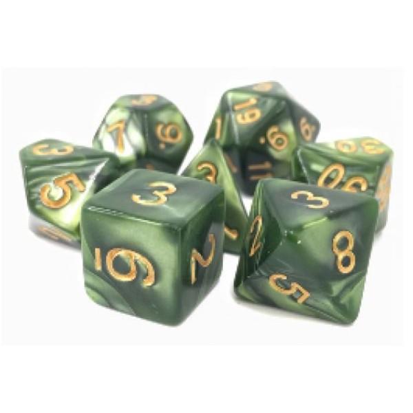 Dargon's RPG DICE - Druid's Summer (Grass Pearl Opaque) - 7 Dice Set