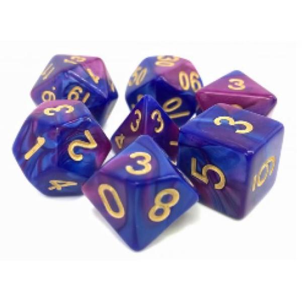 Dargon's RPG DICE - Prismatic Blast (Purple/Blue Fusion) - 7 Dice Set