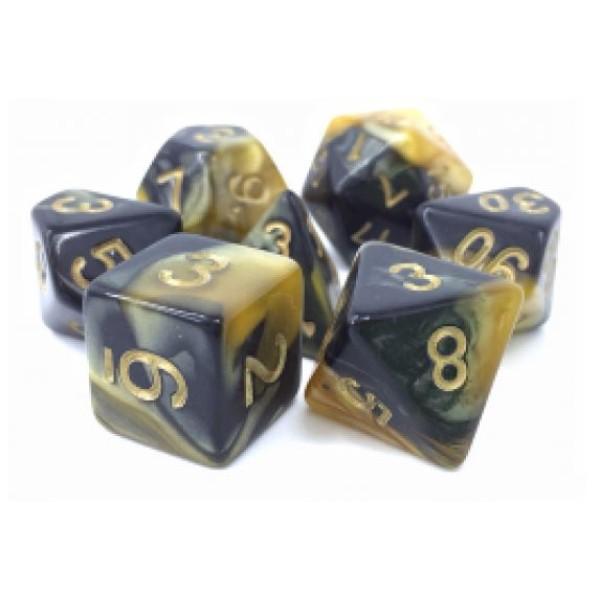 Dargon's RPG DICE - High Crimes (Black/Yellow Fusion) - 7 Dice Set