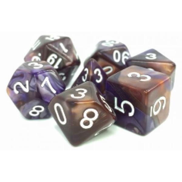 Dargon's RPG DICE - Kestrel's Call (Copper/Blue Fusion) - 7 Dice Set