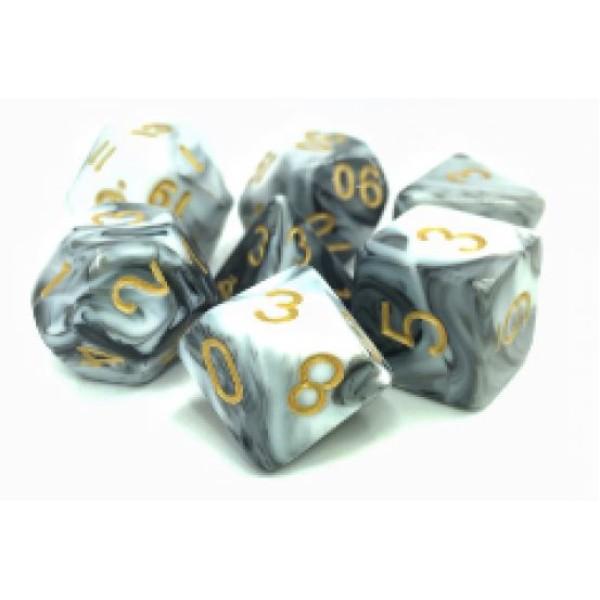 Dargon's RPG DICE - Smoky Sillage (White/Black Fusion) - 7 Dice Set