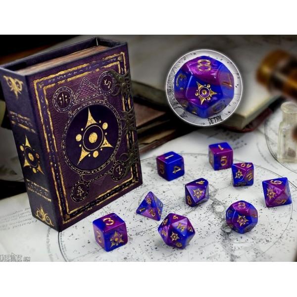 Elder Dice - 9 dice Poly Set - Sigil of the Dreamlands Dice - Eldritch Nebula