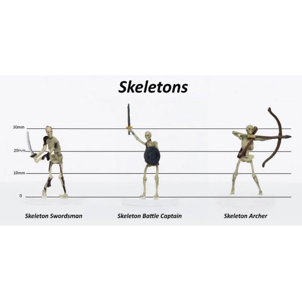 Role 4 Initiative - Pre-Painted Fantasy Miniatures - Skeletons Group of 3 - Set C - Swordsman, Battle Captain, Archer