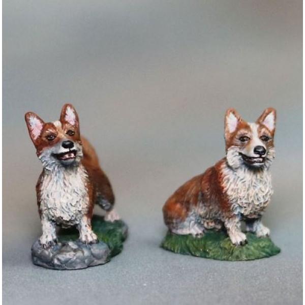 Dark Sword Miniatures - Visions in Fantasy - Corgi Dogs x 2