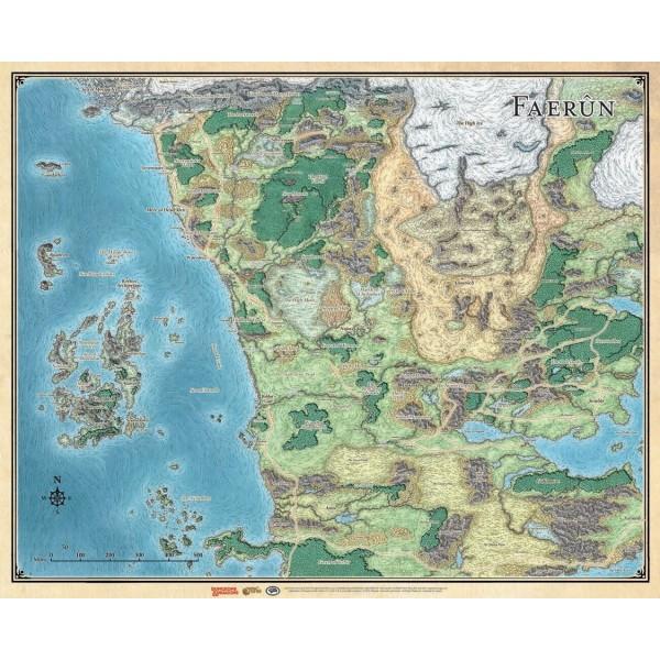 "D&D - Sword Coast Adventures Guide-  Map Of Faerun 30"" x 42"" (Vinyl)"