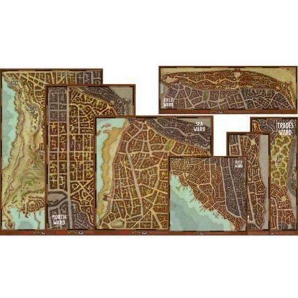 D&D - 5th Edition - Waterdeep - Dragon Heist - Wards Map Set (Vinyl)