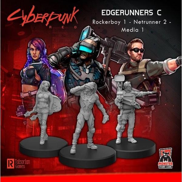 Cyberpunk Red Miniatures - Edgerunners C - Rocker, Netrunner, Media
