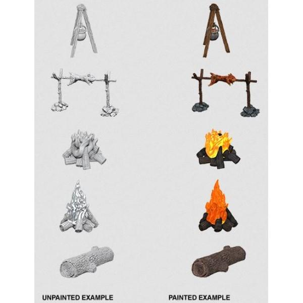 Pathfinder - Deep Cuts Unpainted Miniatures: Camp Fire & Sitting Log