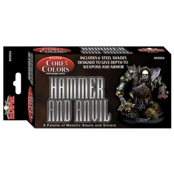 Reaper Fast Palette - Core Colors Paint Set - Hammer and Anvil - Steel Colors