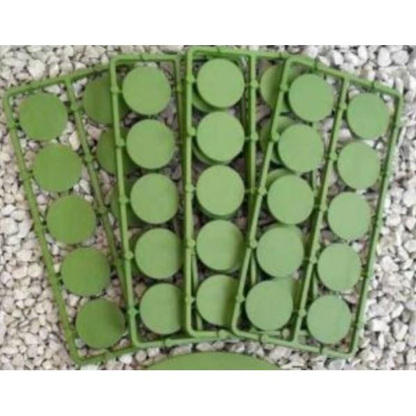 Renedra Bases - ROUND Flat Bases - 25mm Diameter - 50 bases per bag (Green)