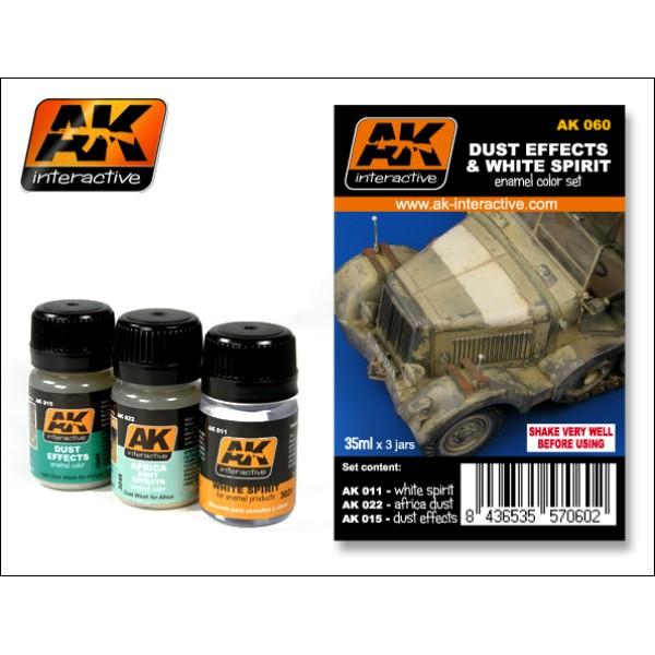 AK Interactive - Weathering set - Dust effects & White Spirit