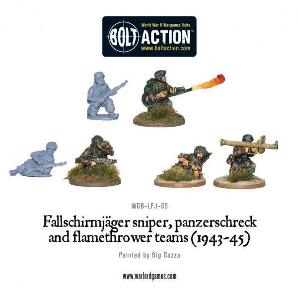 Bolt Action - Germany - Fallschirmjager Sniper, Panzerschreck and Flamethrower Teams