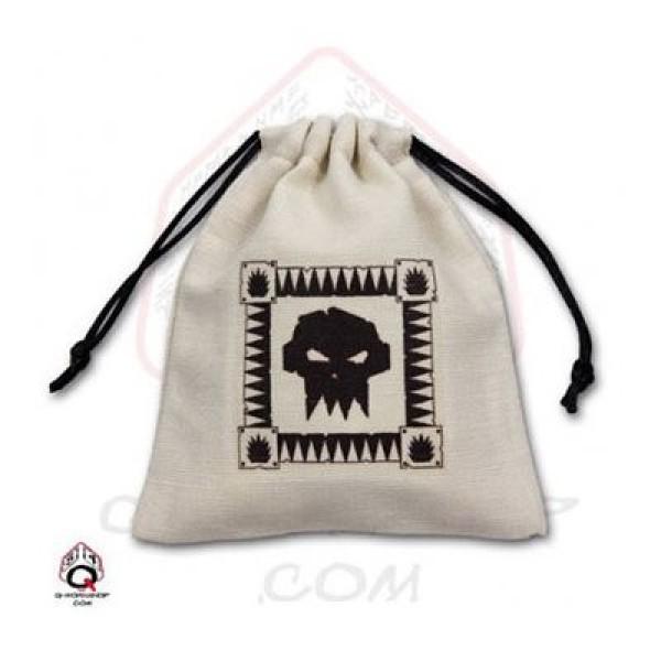 Orc Dice Bag - Beige & Black - Linen