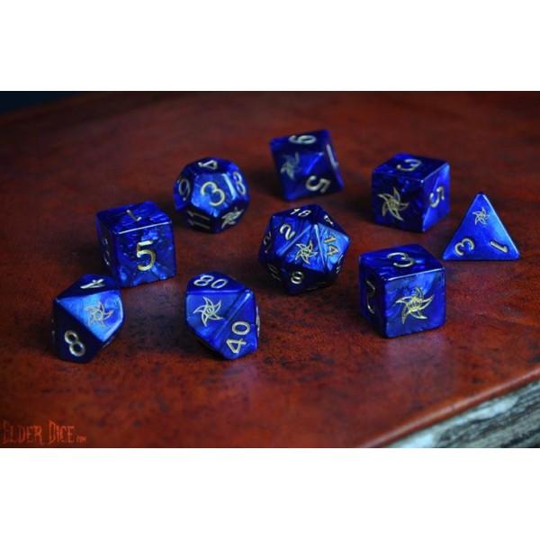 Elder Dice - 9 dice Poly Set - Blue With Astral Elder Sign Design