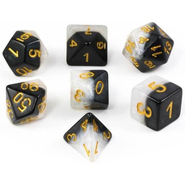 Halfsies RPG Dice - Ying Yang Gold Set