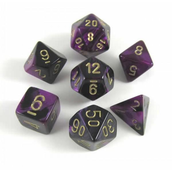 Chessex RPG DICE - Black - Purple / Gold 7 Dice Set