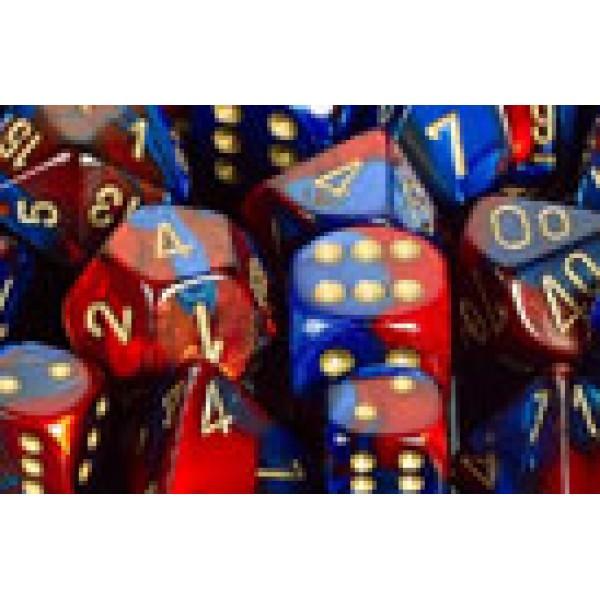 Chessex RPG DICE - Gemini Blue - Red / Gold 7 Dice Set