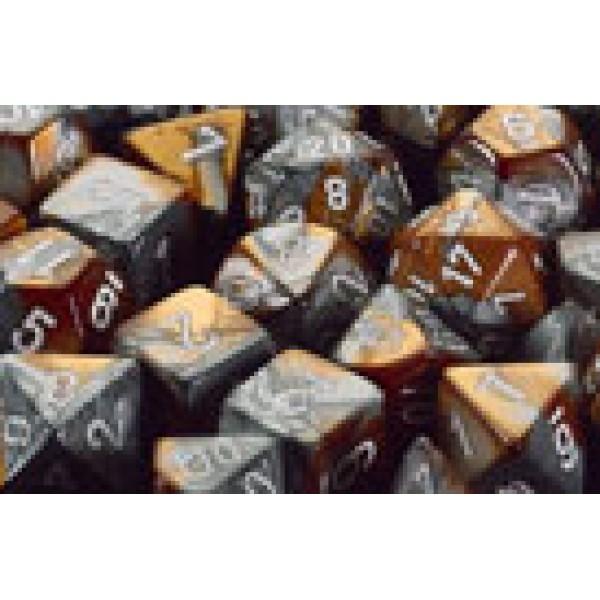 Chessex RPG DICE - Copper - Steel / White 7 Dice Set