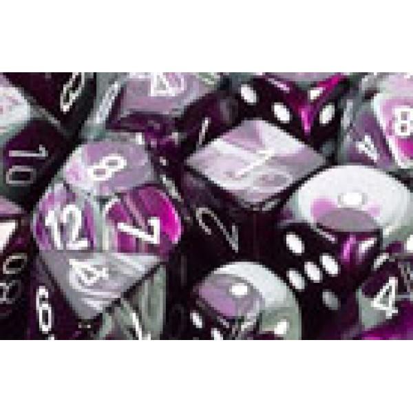 Chessex RPG DICE - Gemini Purple -Steel / White 7 Dice Set