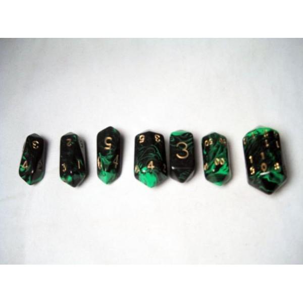 Crystal Caste RPG DICE - Green Crystal Oblivion 7-Die Set
