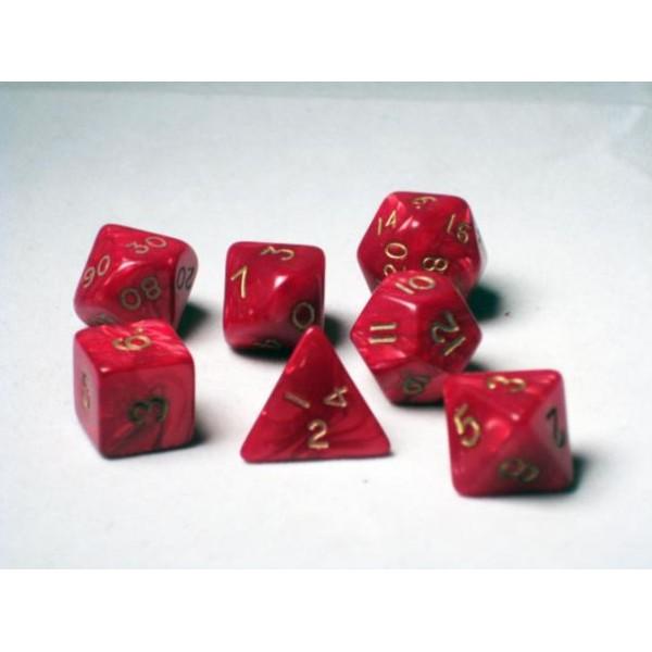Crystal Caste RPG DICE - Red Pearl Polyhedral 7-Die Set