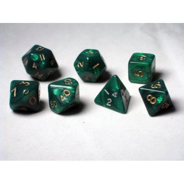 Crystal Caste RPG DICE - Green Pearl Polyhedral 7-Die Set