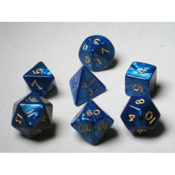 Crystal Caste RPG DICE - Blue Pearl Polyhedral 7-Die Set