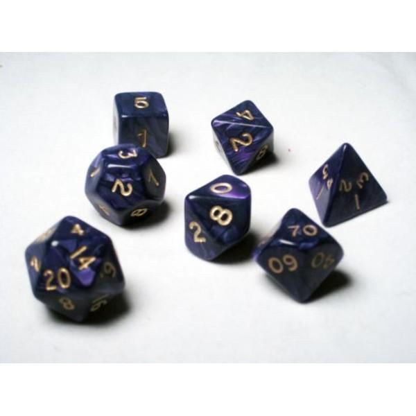 Crystal Caste RPG DICE - Purple Pearl Polyhedral 7-Die Set