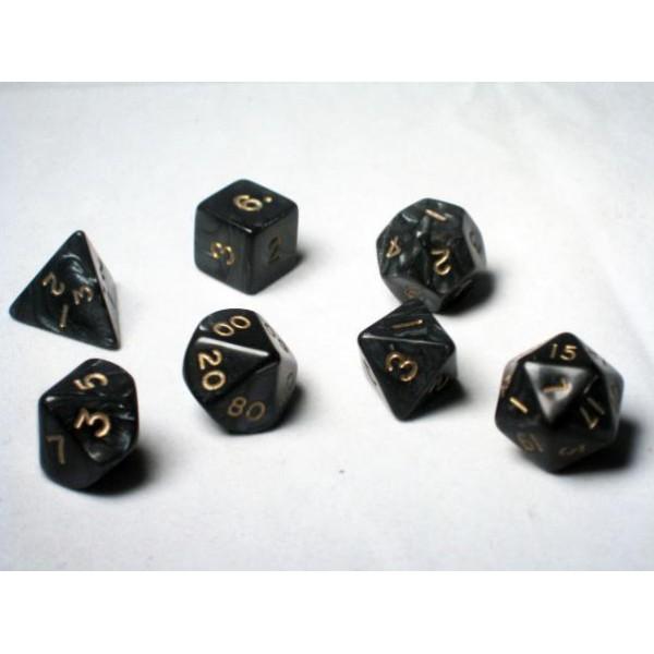 Crystal Caste RPG DICE - Black Pearl Polyhedral 7-Die Set
