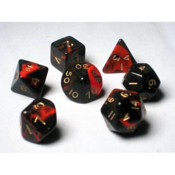 Crystal Caste RPG DICE - Red Oblivion Polyhedral 7-Die Set