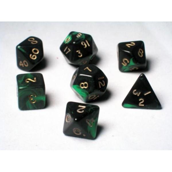 Crystal Caste RPG DICE - Green Oblivion Polyhedral 7-Die Set
