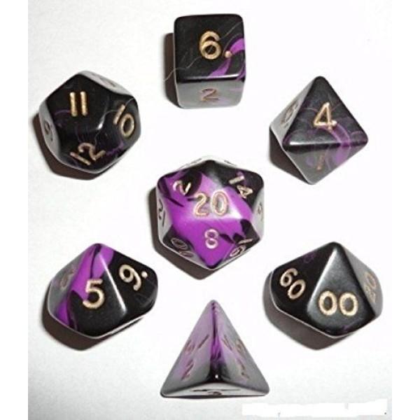 Crystal Caste RPG DICE - Purple/Gold Oblivion Polyhedral 7-Die Set