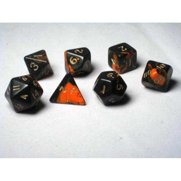 Crystal Caste RPG DICE - Orange Oblivion Polyhedral 7-Die Set