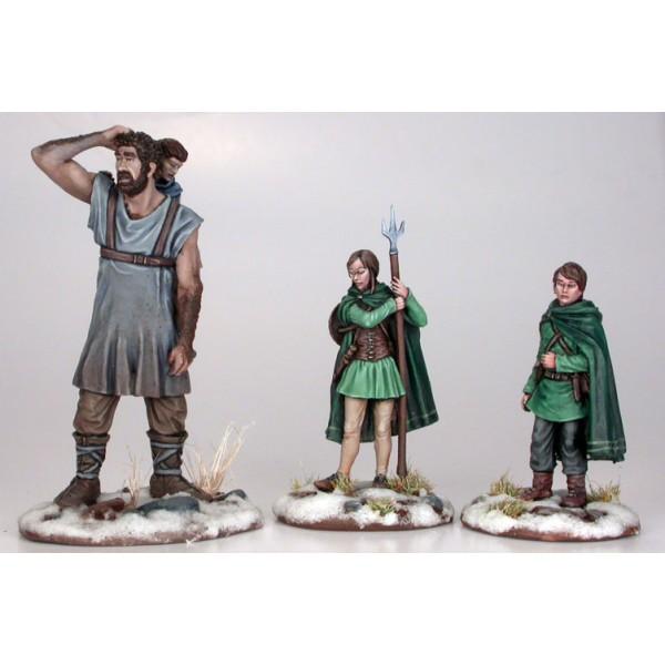 Dark Sword Miniatures - George R. R. Martin Masterworks - Hodor, Bran, Jojen and Meera Combo Pack w/ Bonus Diorama Base