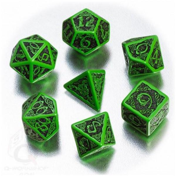 Q-Workshop - Green-black Celtic 3D dice