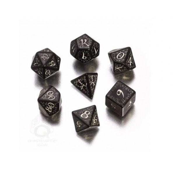 Q-Workshop - Black-glow in the dark Elvish dice set
